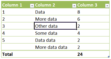 Starting Point for Table Formula Examples