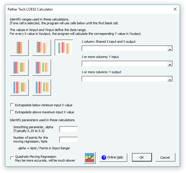 Loess Utility Dialog in Excel 2016 for Windows