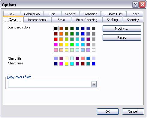 Tools - Options - Color