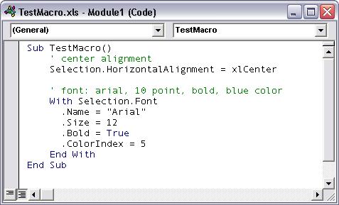 Code Module with macro