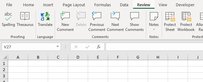 Review Tab in Excel 2016 Ribbon