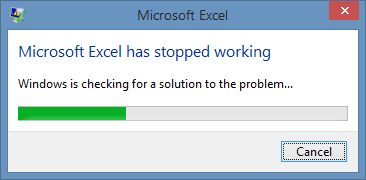 Excel Error Message - Excel Stopped Working