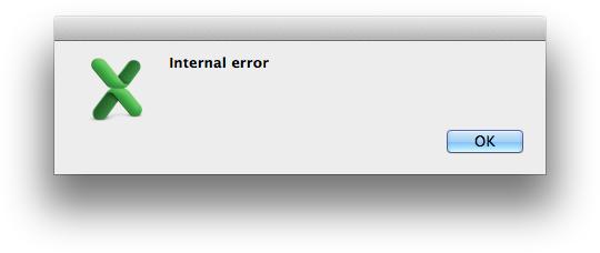 Excel Error Message - Internal Error