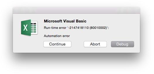 Excel Error Message - Automation Error
