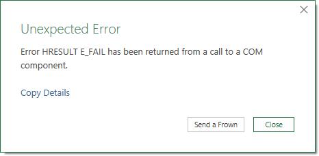 Excel Error Message - Unexpected Error