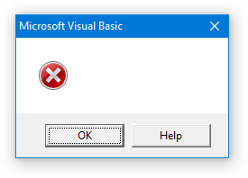Excel Error Message - Blank Message