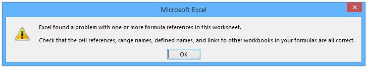 Excel Error Message - Formula Error