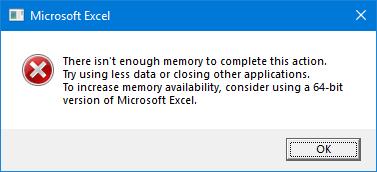 Excel Error Message - Memory Error