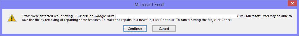 Excel Error Message - Saving Problem