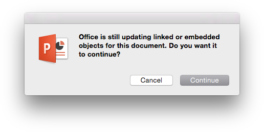 Excel Error Message - Mac Interapplication Incommunication