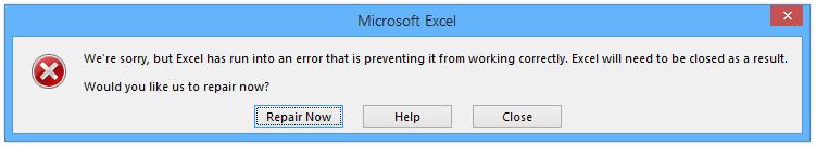 Excel Error Message - Repair?