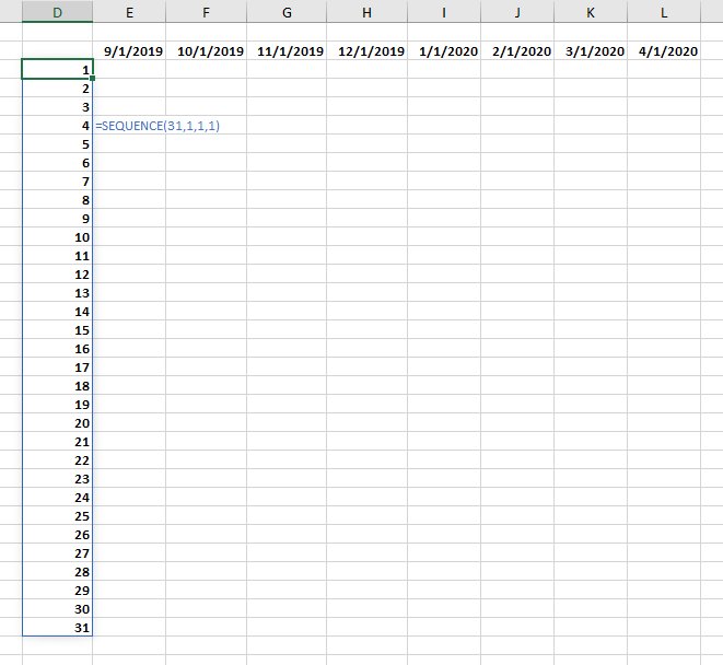 Dynamic Arrays: Day numbers in first column