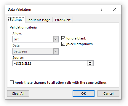 Data validation dialog to create a dropdown list in the chart staging area