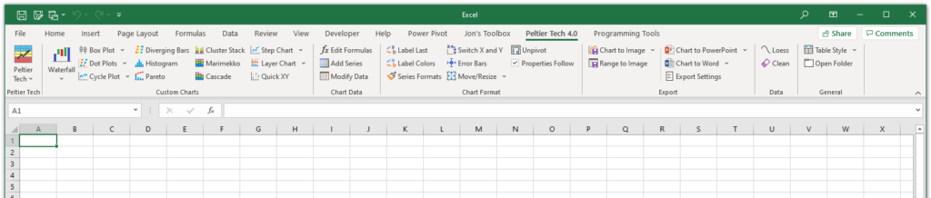 Peltier Tech Charts for Excel 4.0 Custom Ribbon