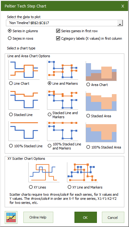 Peltier Tech Charts for Excel Step Chart Dialog