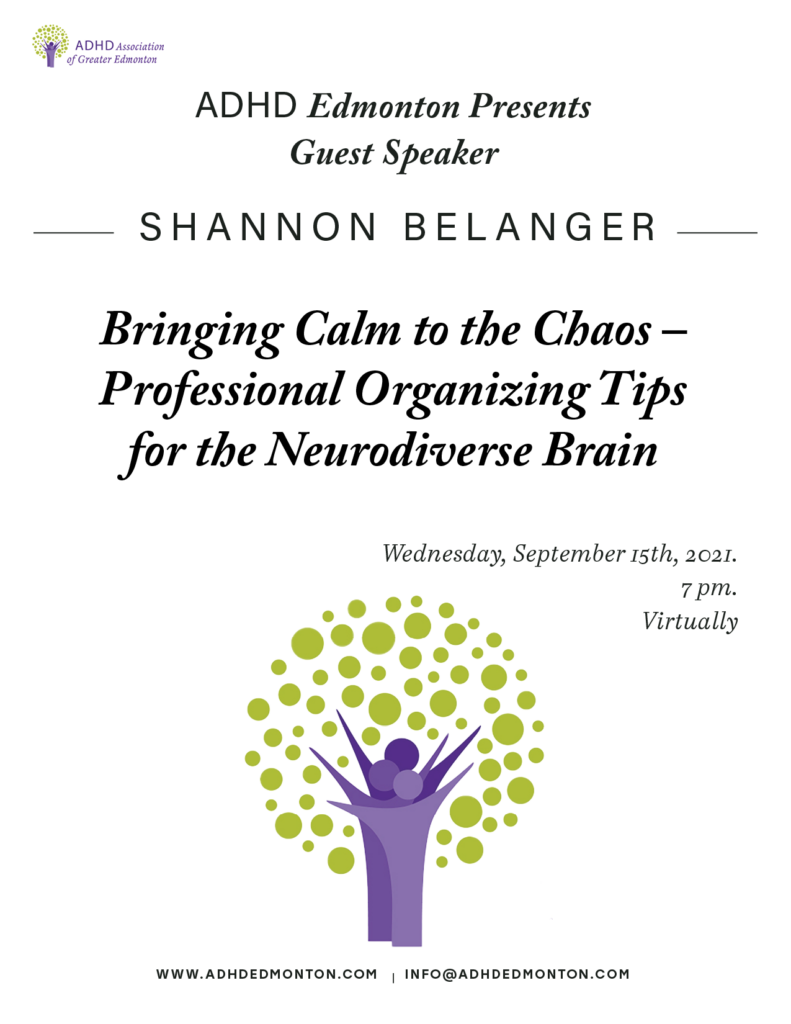 adult support meeting guest speakerbringing calm to the chaos – Professional organizing tips for the neurodiverse brain