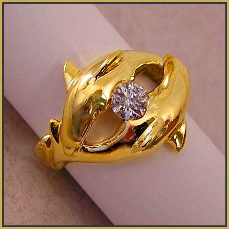 18K dolphin diamond ring