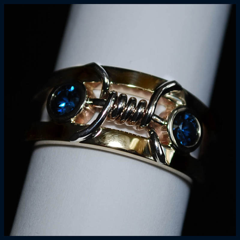 Fine Blue Sapphire and 14 Karat gold Ring
