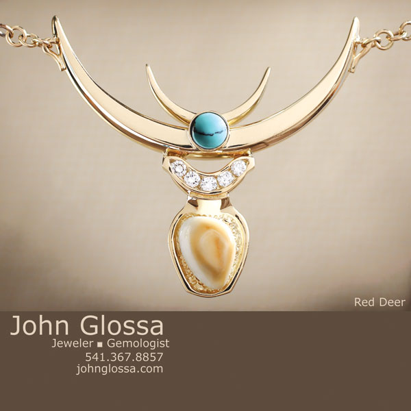 Red Deer Custom Necklace Design with gold chain