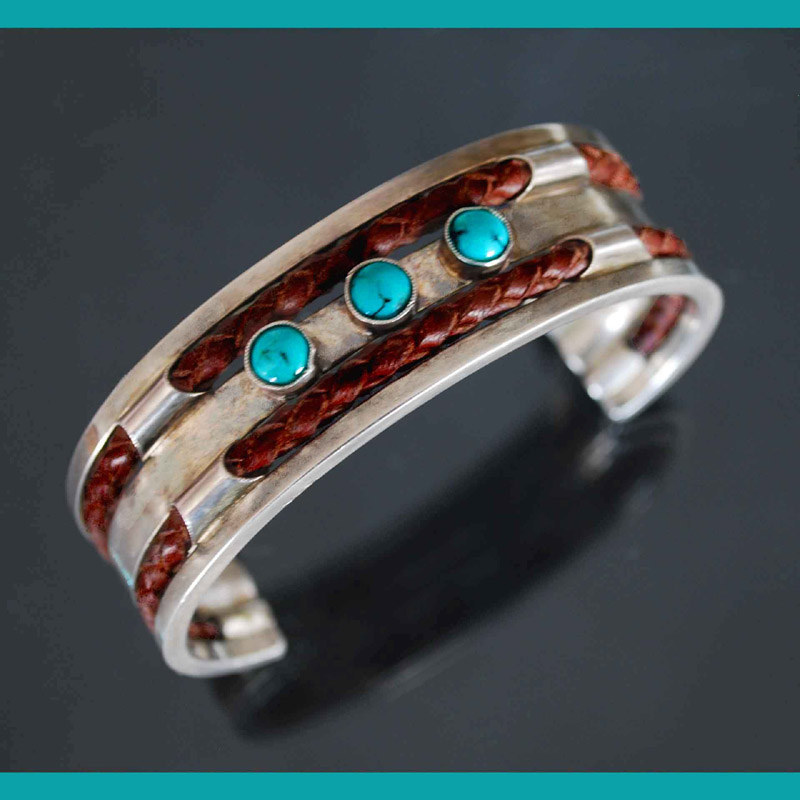 silver & leather with turquoise bracelet