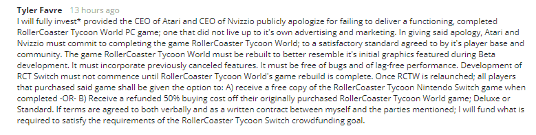 Atari RollerCoaster Tyoon Revenue Sharing Commentator Lashing Out