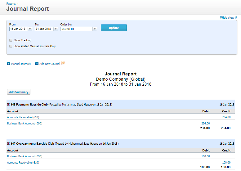 Xero Overpayment of customer invoice - Accounting Entry