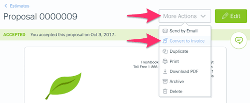 Convert Freshbooks Proposals to Invoice