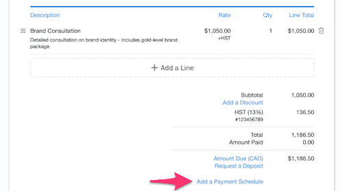 FreshBooks - Add a Payment Schedule