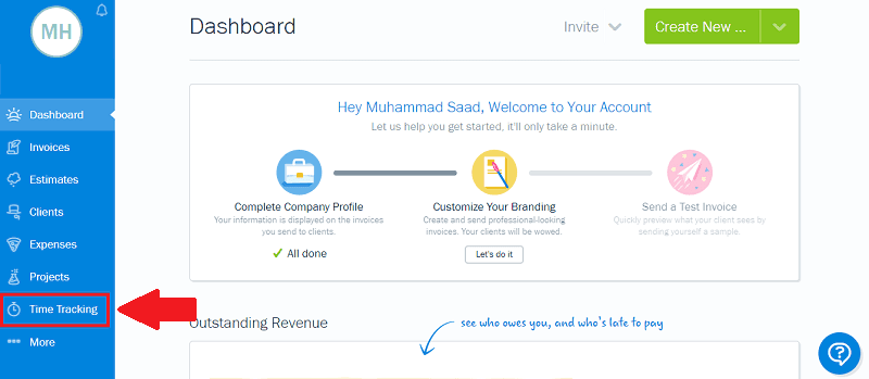 FreshBooks Dashboard Time Tracking
