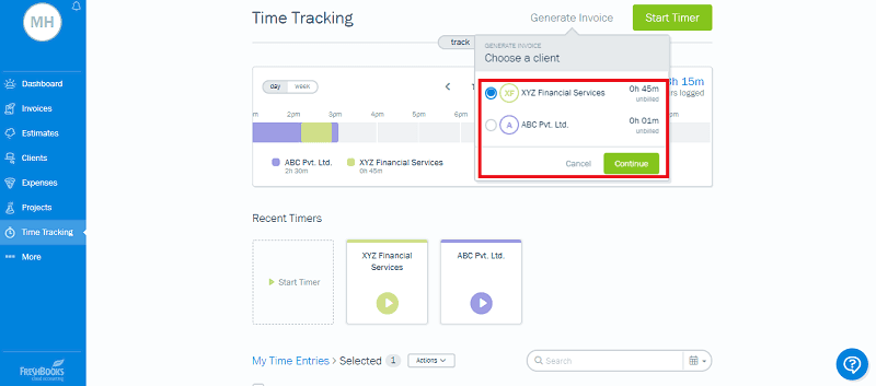 Freshbooks Time Tracking Generate Invoice Project