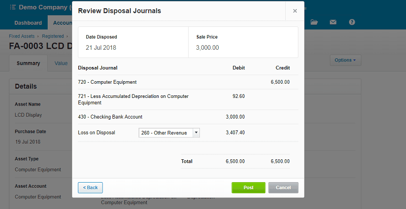 Xero Fixed Asset Review Disposal Journal