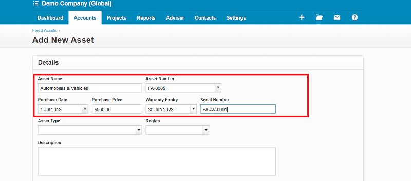Xero Fixed Assets Registration Details
