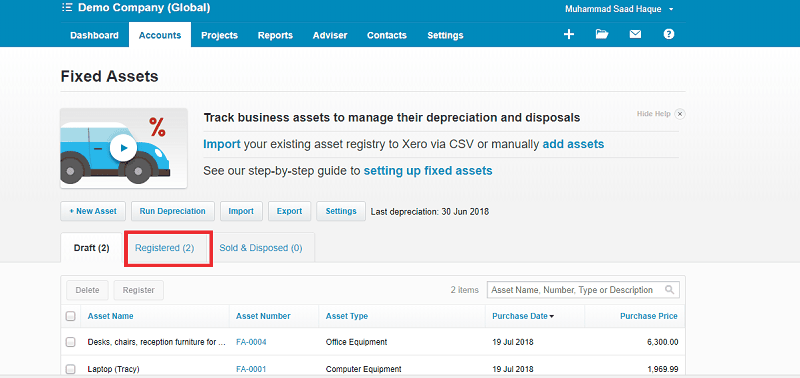 Xero Registered Fixed Asset