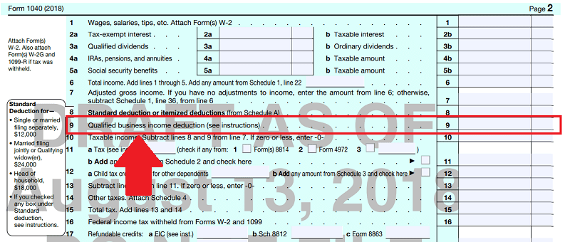 Qualified Business Income - Section 199 A Deduction - 1040 page 2