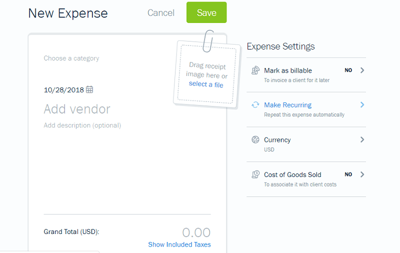 FreshBooks Add New Expense