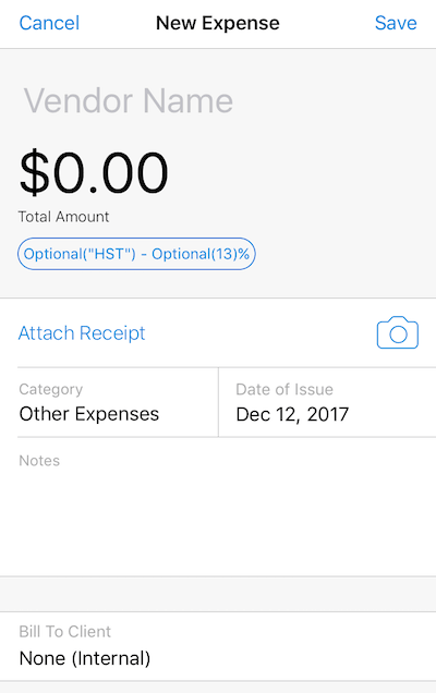 iOS Enter FreshBooks Expense Details