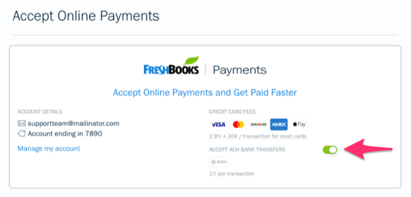 FreshBooks Enable ACH Payments