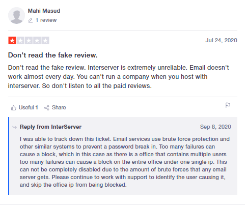 InterServer - Negative Review - Email Problem