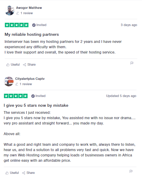 InterServer - Positive User Review - 2