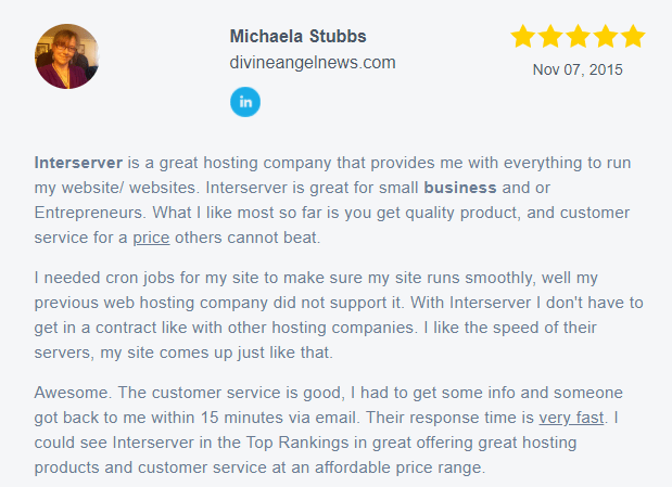 InterServer - Positive User Review - 3