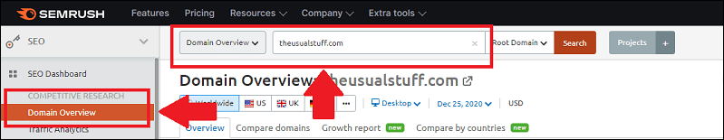 SEMRush - Domain Overview Feature