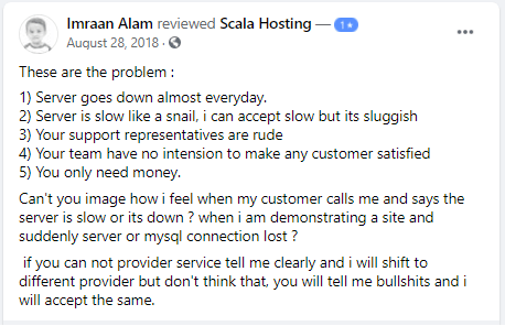 Scala Hosting - Negative User Feedback - 4