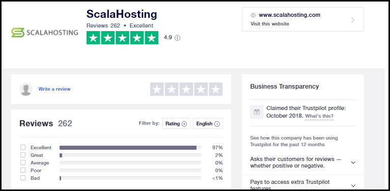 Scala Hosting - TrustPilot - User Ratings & Feedback