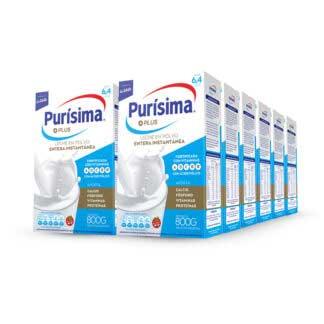 Leche en polvo Purisma Plus Entera 800grs. Pack 12 unidades