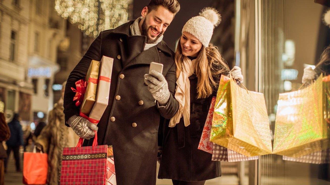 Couple Holiday Shopping