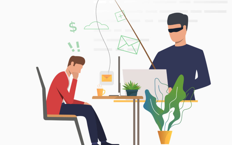 Cyber attacker hacking into email server. Scammer holding fishing tackle with hooked message of office worker. Cybercrime concept. Vector illustration can be used for scam attack, information security