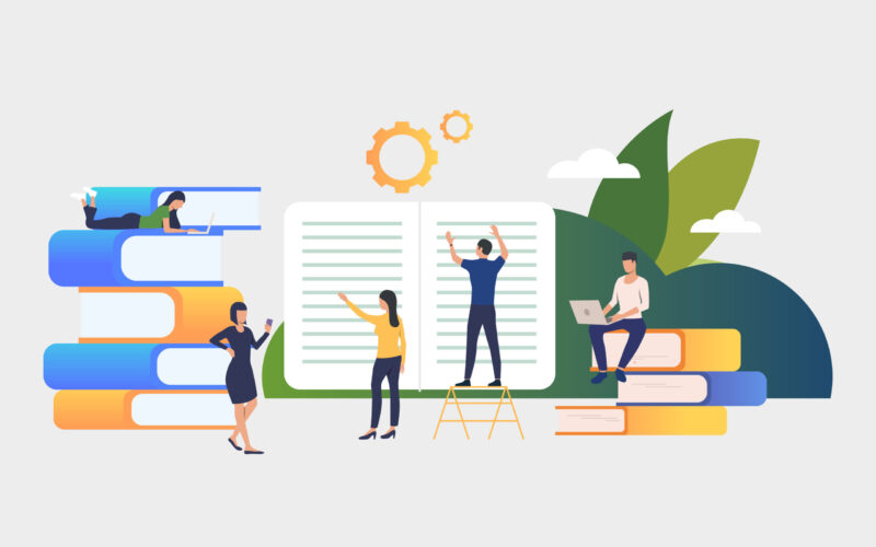 Group of people working on books. Authors, brainstorming, printing house, library. Business concept. Vector illustration for poster, presentation, new project