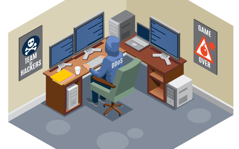 Internet threats isometric composition with anonymous hacker sitting at computer and activating virus attack vector illustration