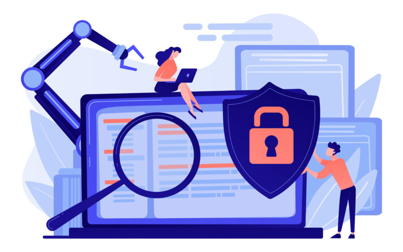 Developers, robot work at laptop with magnifier. Industrial cybersecurity, industrial robotics malware, safeguarding of industrial robotics concept. Pinkish coral bluevector isolated illustration