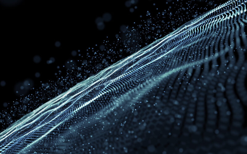 3D render of an abstract background with a digital cyber particles design